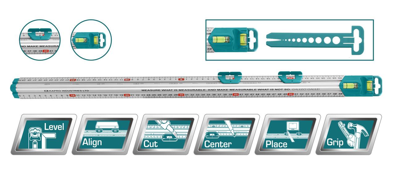 Линейка многофункциональная 60см, с уровнем TMT646003
