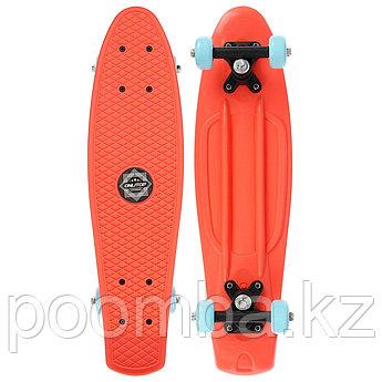Скейтборд Пенниборд 56 х 15 см, колеса PVC 50 мм, пластиковая рама, цвет оранжевый