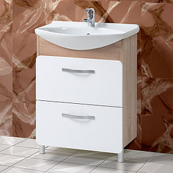 Тумба с умывальником для ванной «Акваль Сеул» 65 см. Умывальник в комплекте: «Чезаро 65»