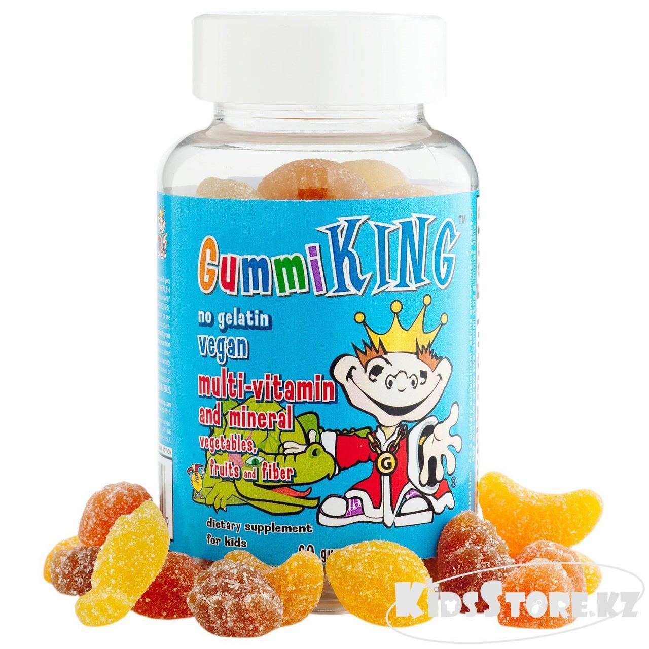 Gummi King Мультивитамины и минералы с фруктами овощами и волокнами №60 драже жев.