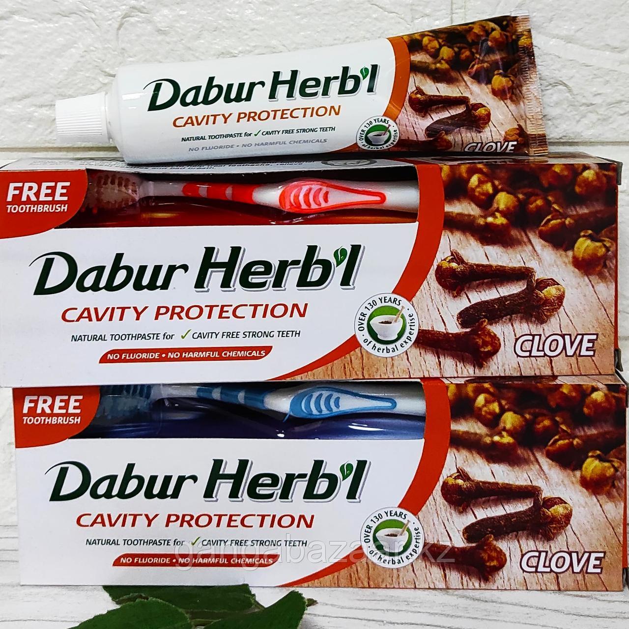 Зубная паста с гвоздикой Дабур Хербл (Dabur Herbl Clove, Cavity Protection) + зубная щетка, 150 гр