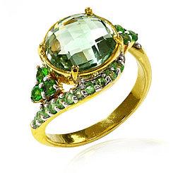 Кольцо с зеленым Аметистом и Тсаворитами