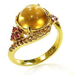 Кольцо с Цитрином и Сапфирами