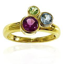 Кольцо с Топазом, Хризолитом, Гранатом