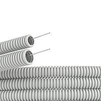 Труба ПВХ гибкая гофр. д.25мм, лёгкая с протяжкой, 50м, цвет серый