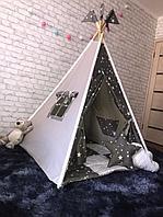 Детский вигвам 4-гранный серый/звезды