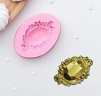 """Молд 6х4,3х1,2 см """"Драгоценный камень"""", розовый"""