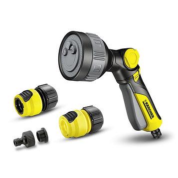 Набор: пистодет-дождеватель, коннектор, коннектор с аквастоп, адаптер, пластик