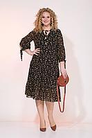 Женское осеннее шифоновое большого размера платье Liliana 921 черный/горчица 50р.
