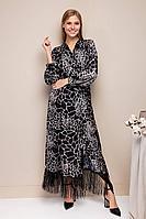Женское осеннее атласное черное нарядное платье Daloria 1779 черный 44р.