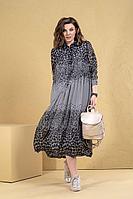 Женское летнее шифоновое серое большого размера платье Deesses 1081 50р.