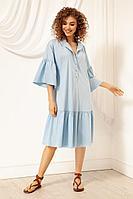 Женское летнее хлопковое голубое платье Nova Line 50036 голубой 42р.