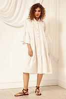 Женское летнее хлопковое белое платье Nova Line 50036 молочный 42р.