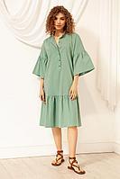 Женское летнее хлопковое зеленое платье Nova Line 50036 мята 42р.