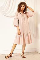 Женское летнее хлопковое розовое платье Nova Line 50036 розовый 42р.