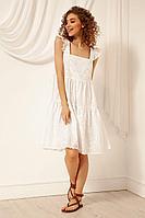 Женское летнее хлопковое белое платье Nova Line 50046 белый 42р.