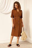 Женское летнее из вискозы коричневое платье Nova Line 50051 тоффи 42р.