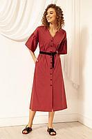 Женское летнее хлопковое красное платье Nova Line 50067 брусника 42р.