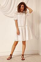 Женское летнее хлопковое белое платье Nova Line 50071 белый 42р.