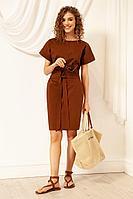 Женское летнее хлопковое коричневое платье Nova Line 50072 тоффи 42р.