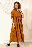 Женское летнее хлопковое коричневое платье Nova Line 50073 горчица 42р.
