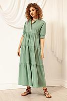 Женское летнее хлопковое зеленое платье Nova Line 50073 мята 42р.