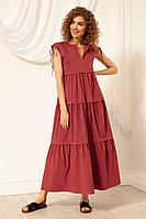 Женское летнее хлопковое красное платье Nova Line 50074 брусника 42р.