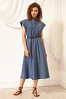 Женское летнее джинсовое синее платье Nova Line 5970 джинс 42р.