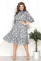 Женское летнее шифоновое серое нарядное большого размера платье Solomeya Lux 782 серый 48р.