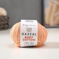 Пряжа 'Baby Cotton' 60 хлопок, 40 полиакрил 165м/50гр (3412 персиков.) (комплект из 5 шт.)