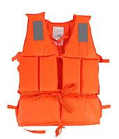 Спасательный жилет со свистком и светоотражающими вставками водонепроницаемый взрослый оранжевый