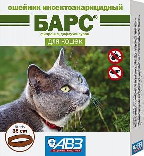 Барс ошейник инсектоакарицидный для кошек от блох и клещей, 35см