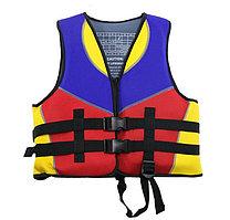 Спасательный жилет детский водонепроницаемый с паховым ремнем Wavestar красный синий желтый