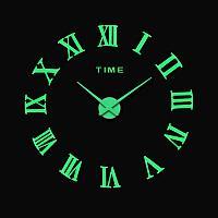 Большие бескаркасные фосфорные настенные 3D часы на стену светящиеся в темноте