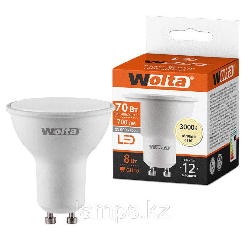 Лампа LED WOLTA PAR16  8Вт 700лм GU10 3000К   1/50