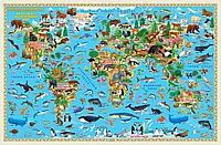 """Настольная карта мира """"Наша планета. Животный и растительный мир"""" 58х38 см"""