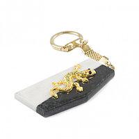 Брелок для ключей из камня мрамор и змеевик