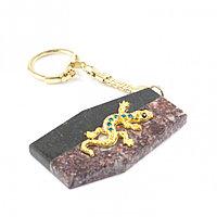 Брелок для ключей из натурального камня креноид и змеевик