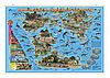 """Карта мира на рейках """"Динозавры. Юрский период"""" 101х69 см (ламинированная)"""