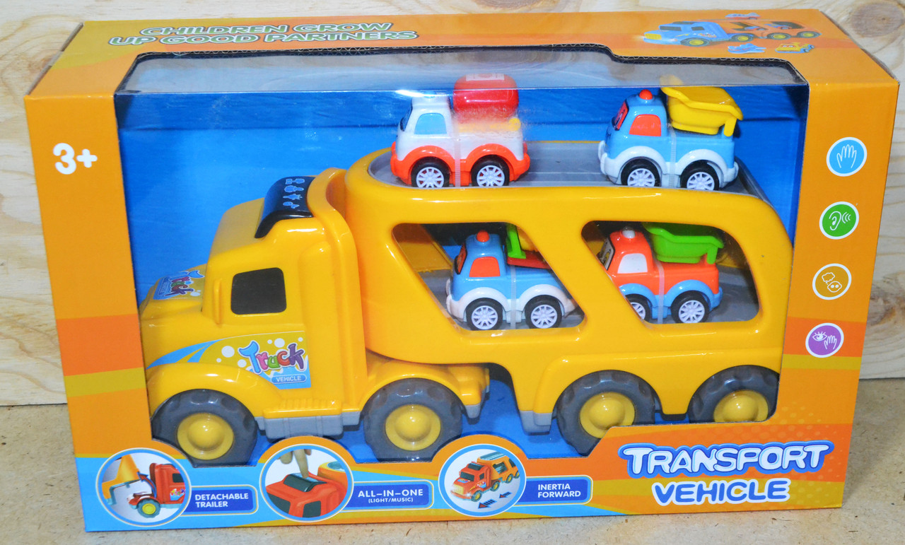677A2 Трейлер Transport Vehicle 4 машинки со звуком 37*22
