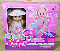 Немного поматая!!! 8007 Кукла Angelпупс в шляпке со столиком для кормления и аксессуарами 38*35
