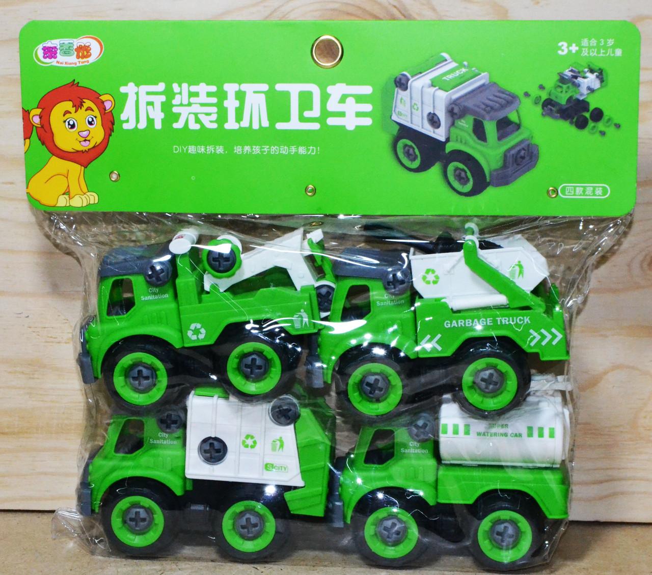 666-47 Машинки спецтехника 4 в 1 зеленая разбирайка 27*24