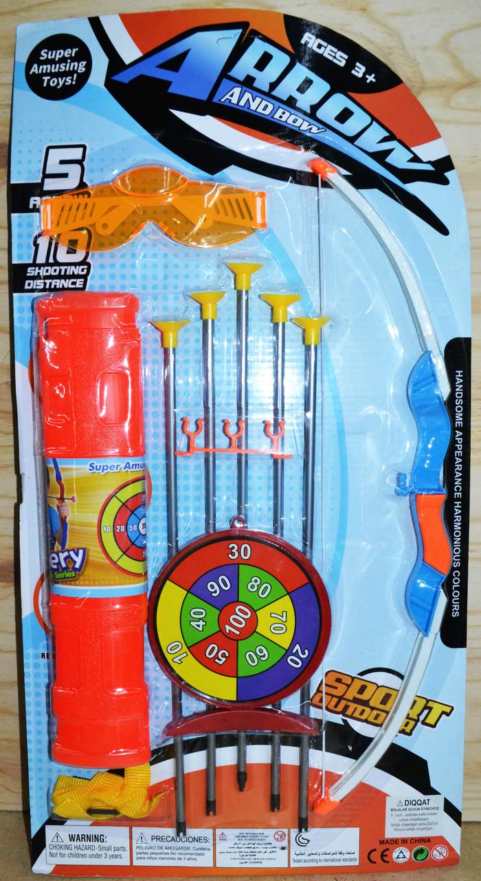 136-7 Лук Arrow and Bow 5 стрел с колчаном, очками и мишенью 57*30