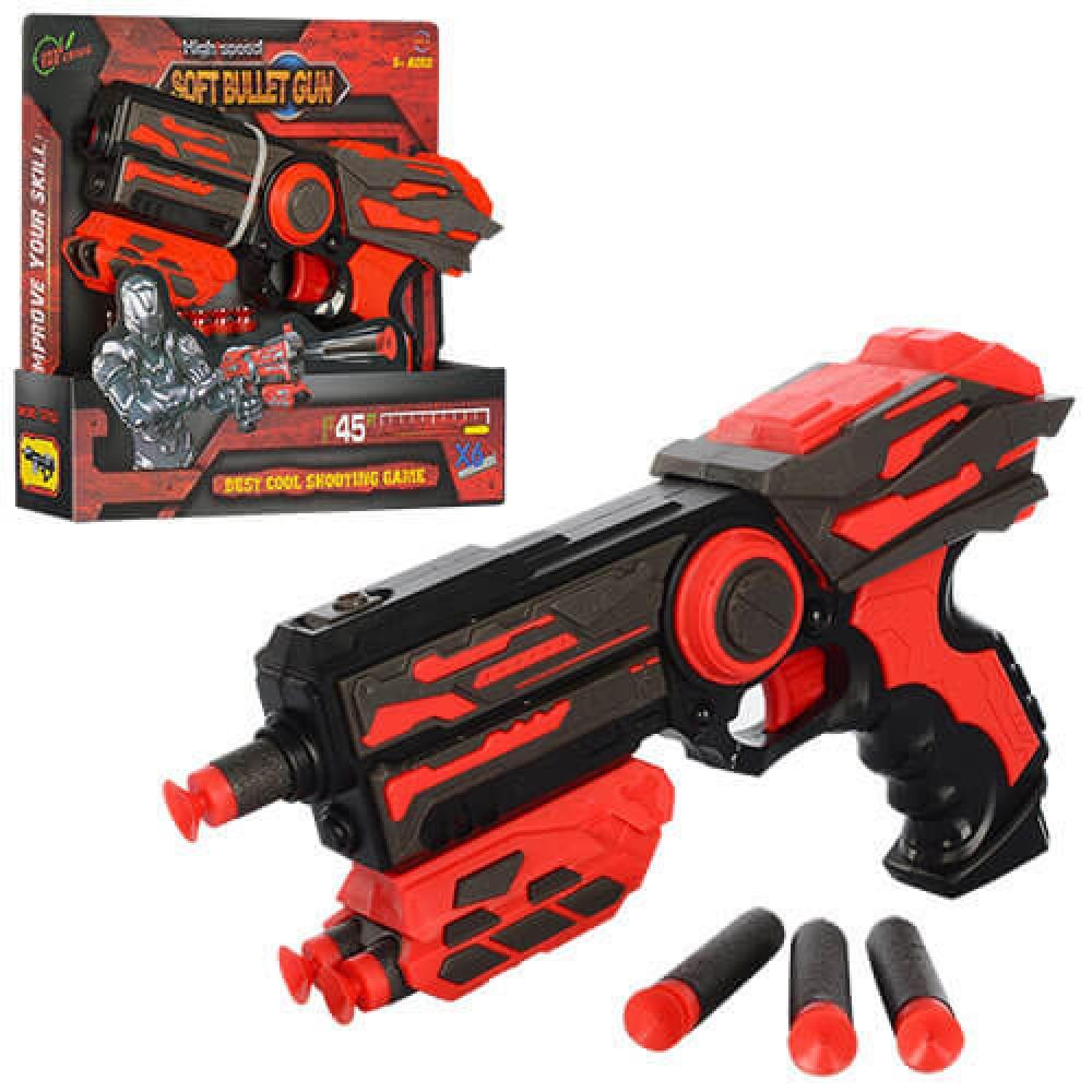 FJ802 Бластер пистолет средний Soft Bullet Gun 6 мягких патронов 25*21
