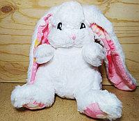 Зайчик белый маленький розовые ушки и лапки 23 см 30 шт