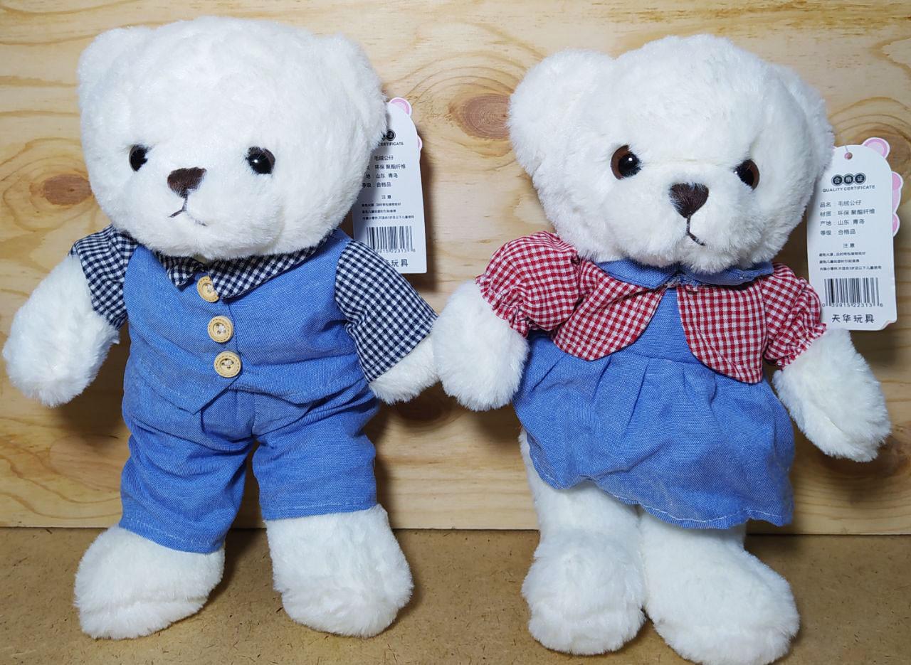 Мишка белый, голубой костюм и платье (мал,дев), цена за 1шт 28см
