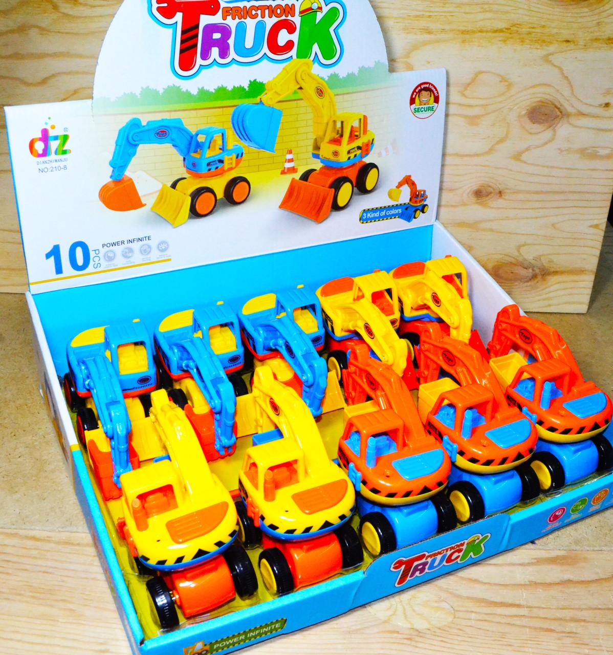 210-8 Cartoon truck Эксковатор 10шт в уп, цена за 1шт 13*10см