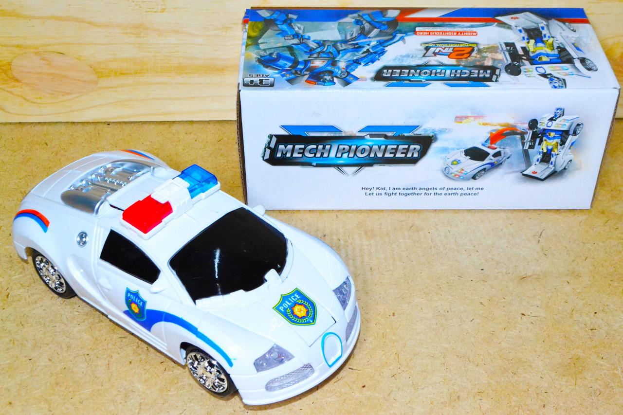 8990 Полицейская машина трансформер 2в1 на батар,муз, 22*10см