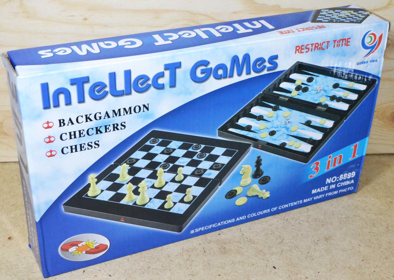 8899 Шахматы 3в1 Синяя упаковка 32*19см