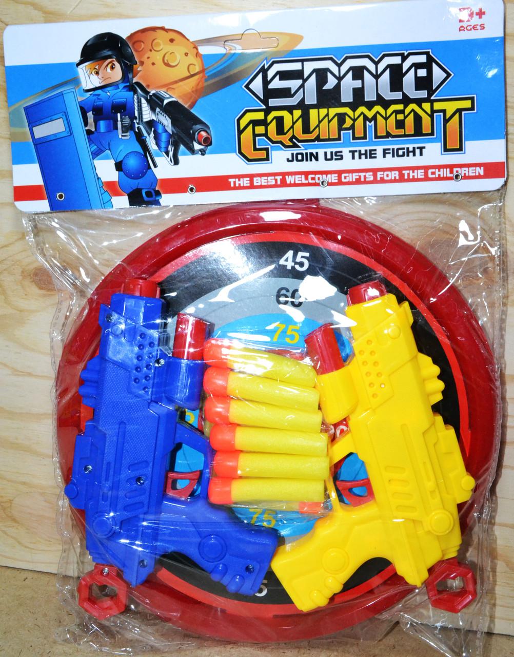 2 пистолет с мишенью и12 патронов в пакете Space equipment 36*27см